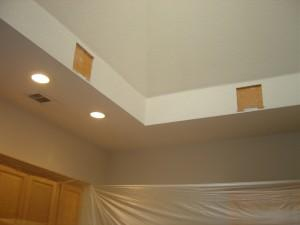 cutting the sheetrock for your skylight chandelier