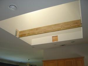 First beam in place for skylight chandelier
