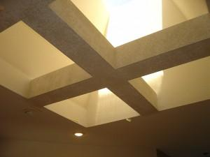 getting ready to paint skylight beams before chandelier instalation