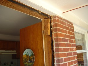 What you'll see after old door and trim is removed