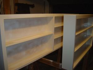 primed bookshelf ready to be painted