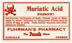 muriatic acid label vintage