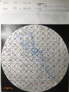 scaled version of star map on paper before transposing onto mdf
