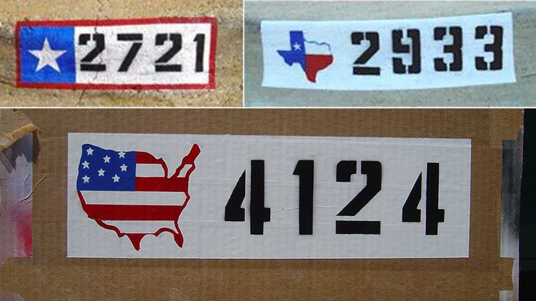 Colorful designs for curb house numbers include USA map and Texas Map
