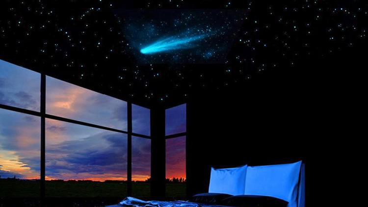 This glow in the dark ceiling stars mural includes a realistic comet.