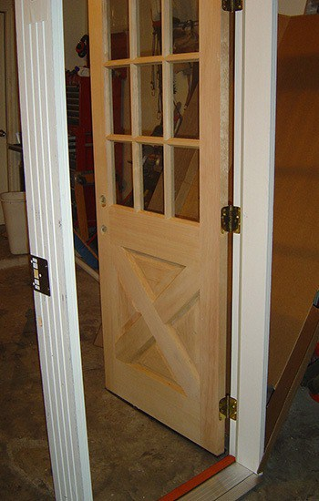 a pre hung wood door after removal from it's packaging